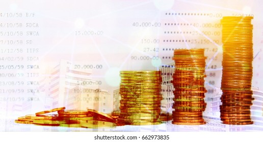 double exposure coins stack and bank account with financial graph connect and city , Business , finance , trading and banking concept .