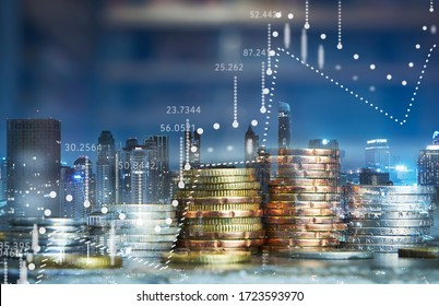 Double exposure of coins stack with graph chart and night cityscape. Economic, business, financial and stock market growth concept. - Shutterstock ID 1723593970
