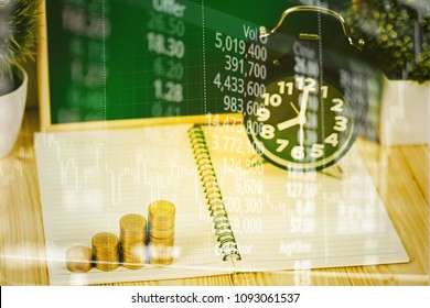 Double exposure coins stacks and alarm clock with green chalkboard, notebook and financial graph, with candle stick and stock market screen, business planning vision and finance analysis concept.