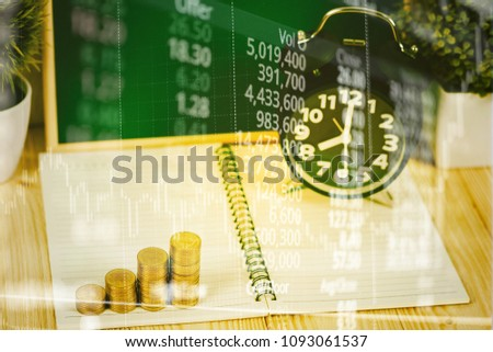 Double Exposure Coins Stacks And Alarm Clock With Green Chalkboard Notebook Financial Graph