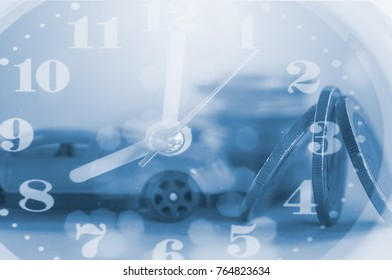 Double exposure coins and toy car with clock and light from car on road , money saving concept