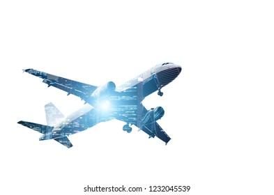 double exposure commercial airplane with night skyscrapers of megapolis background. isolate on white background