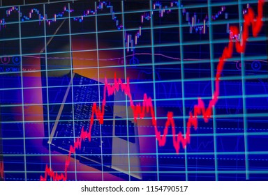 double exposure, computer and stock chart as background, With  concept of risk and volatility of investment world market.