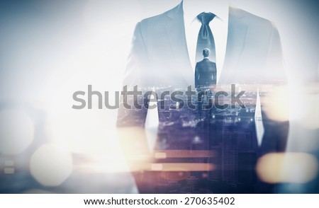 Double exposure concept with businessman silhouette. With special lighting effects