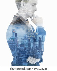 Double exposure concept with businessman think plan about oil power plant and car in future.