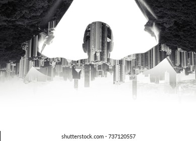 Double exposure concept collage. Man opens curtains on window to the modern cityscape background