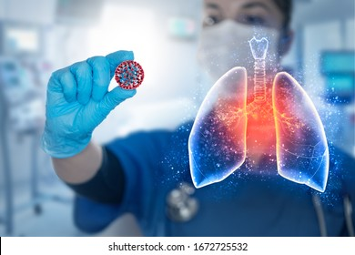Double exposure of Conceptual image of female researcher scientist that holds in hand Covid-19 cell and pneumonia lung, coronavirus covid-19 vaccine research.