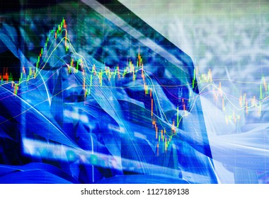 Double exposure Corn crop field season, stock trading computer screen and technical price chart with volatility Agricultural and commodities e-commerce online, wholesale, future trading market concept