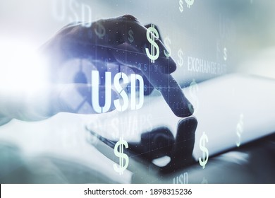 Double exposure of creative USD symbols hologram and finger clicks on a digital tablet on background. Banking and investing concept