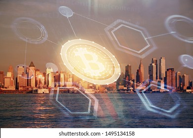 Double exposure of crypto currency theme hologram drawing and city veiw background. Concept of blockchain and bitcoin.