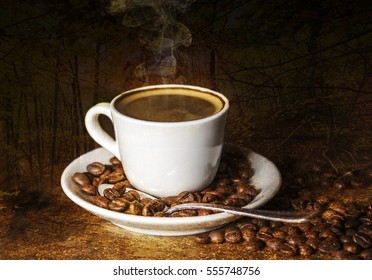 Double exposure of cup of coffee and autumnal landscape