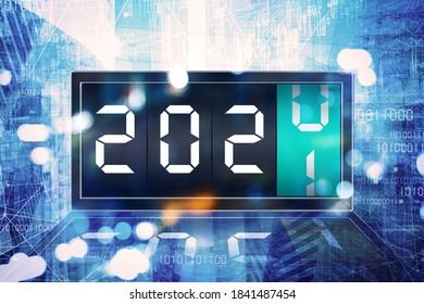 Double exposure of digital clock changing number 2020 to number 2021 with connection network and code binary background
