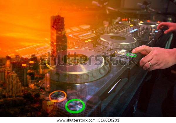 Double Exposure Dj Sound Equipment City Stock Photo (Edit