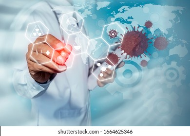 Double exposure of Doctor hand using medical interface innovations on blurred background. Medicine and healthcare concept. Coronavirus.