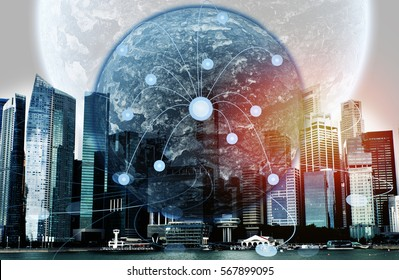 Double exposure of Earth with city landscape background, concept social media marketing .Best Internet Concept of global business from concepts series; connection symbols communication lines