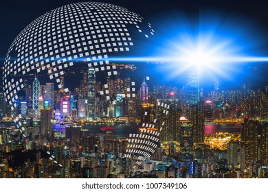 Double exposure of earth map circle of world global network cartography globalization with aerial view of modern office buildings, condominium in city downtown with twilight sky