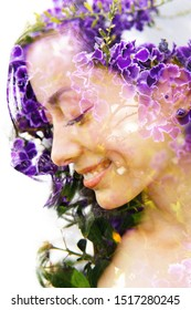 Double exposure with an ecological concept showcasing the beautiful feminine nature of purple flowers