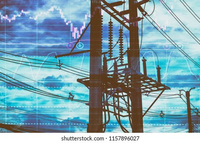 Double exposure - Electric pole, and sky stock chart as background. With the concept of volatility of stocks and energy businesses in the global market.
