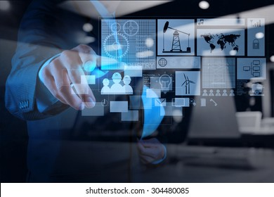 double exposure of engineer businessman working on modern technology as concept