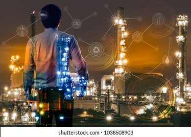 Double exposure of Engineer with oil refinery industry plant and technology icon concept background