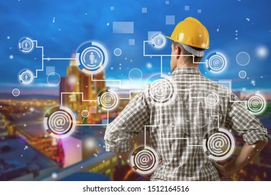 Double exposure of Engineer with oil refinery industry plant background,  industrial instruments in the factory and physical system icons concept, Industry 4.0 concept image          - Image