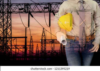 Double exposure of Engineer with safety helmet and drawing with High Voltage Substation 500kv. background.