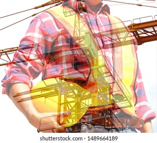 double exposure of engineer in safety suit holding yellow helmet with construction crane background,construction concept.worker in uniform safety rule before start working in construction site.