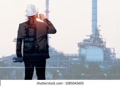 Double exposure of Engineer talking smartphone with oil refinery industry plant background, industrial instruments in the factory and physical system icons concept, Industry 4.0 concept image