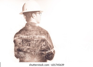 Gas helmet images stock photos vectors shutterstock double exposure of engineer or technician man with safety helmet operated platform or plant by using malvernweather Images