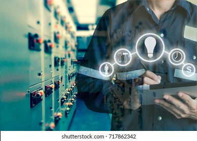 Double exposure of Engineer or Technician man using  tablet in switch gear electrical room oil and gas platform or plant industrial with tools icon, business and electrical industry 4.0 concept.