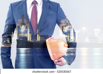 double exposure of engineer or worker hold in hand yellow helmet for workers security with blur sea port background