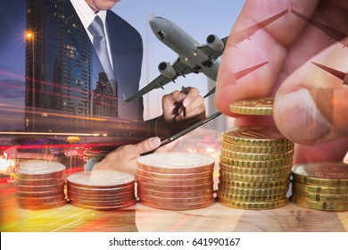 Double exposure of Euro Coin, businessman working with tablet, airplane flying, light trails on the street in the night as transportation, travel, business, investment and exchange rate concept.