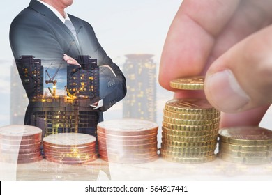 double exposure of Euro Coin stacks on table, businessman arms crossed and construction crane and building in the evening, twilight as business, investment,currency, exchange rate and industry concept