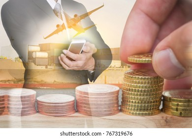 Double exposure of Euro Coin stacks, businessman hand hold smartphone, container cargo ship, plane and airplane as business, investment,currency, exchange rate, logistic and import export concept.