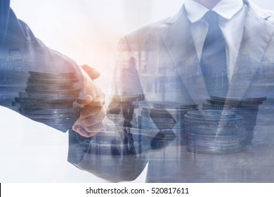 Double exposure of executive business man handshake and coins with passenger in airport