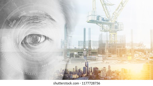 Double exposure, eye with futuristic technology and buildings construction and cityscape. Artificial intelligence technology