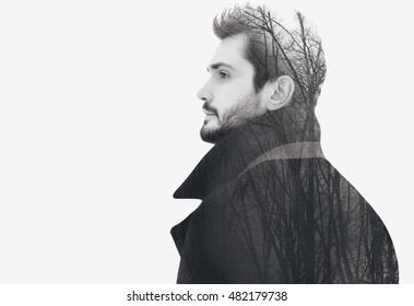 Double exposure fashion elegant bearded free man in profile pensive looks into the distance, isolated on white, copy space empty background, black and white photo