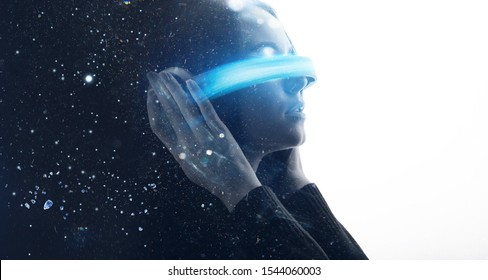 Double exposure of female face. Abstract black and white woman portrait. Digital art. Girl in glasses of virtual reality. Augmented reality, dream, future technology, game concept. VR.