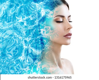 Double exposure of female face and blue water pool ripple.