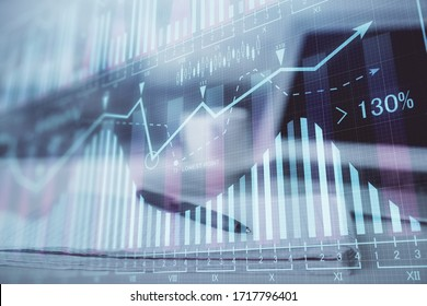 Double exposure of financial graph drawings and desk with open notebook background. Concept of forex market