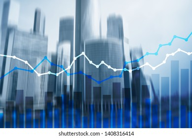 Double exposure financial graphs and diagrams big city.