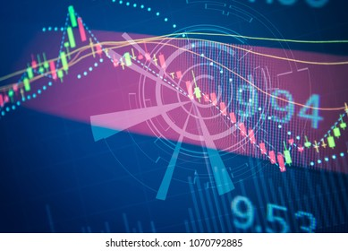 Double exposure of financial statistic graph stock trading and to do marketing analysis in money exchange such as dollar yen yuan and Cryptocurrency. Digital number and market price in the LED screen.