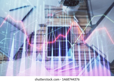 Double exposure of forex graph on digital tablet laying on table background. Concept of market analysis - Shutterstock ID 1468744376