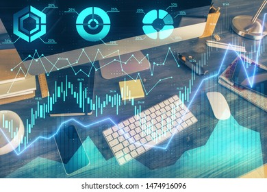 Double exposure of forex graph and work space with computer. Concept of international online trading. - Shutterstock ID 1474916096