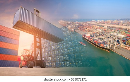 Double exposure forklift truck and container shipping boat at shipping yard.