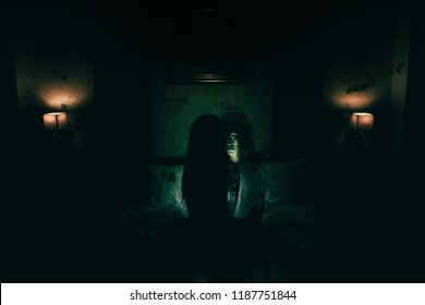 double exposure of ghost woman in haunted hotel with dark filter, halloween concept