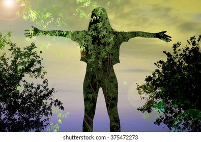 double exposure, the girl in the foliage, spring has come, the image of the spring, the silhouette of a girl