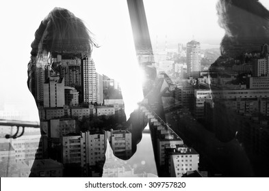 double exposure (girl looking at the sunset)