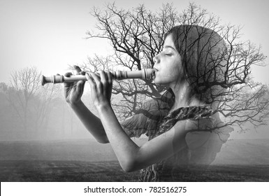 Double exposure with a girl playing recorder