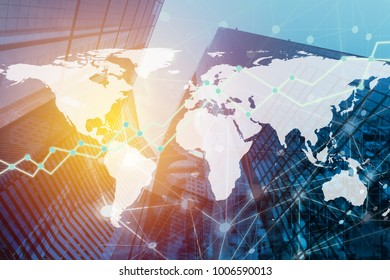 Double exposure global business investment graph on blur city and money background. Elements of this image furnished by NASA